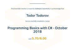 Programming Basics with-C#  - Certificate by SoftUni