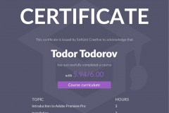 Video Processing with Premiere Pro - Certificate by SoftUni Creative